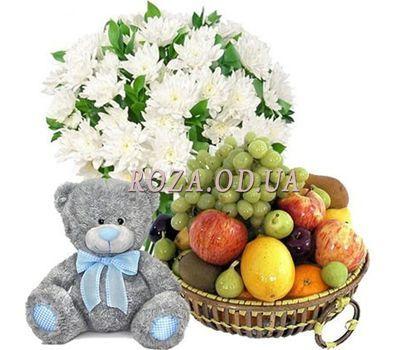 """""""Букет, мишка, фрукты"""" в интернет-магазине цветов roza.od.ua"""