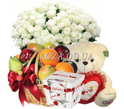 """Bouquet, teddy bear, fruit, Raffaello"" in the online flower shop roza.od.ua"