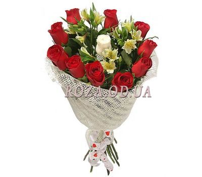 """""""Bouquet of roses and alstroemerias"""" in the online flower shop roza.od.ua"""