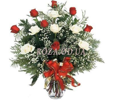 """Bouquet of roses and spruce"" in the online flower shop roza.od.ua"