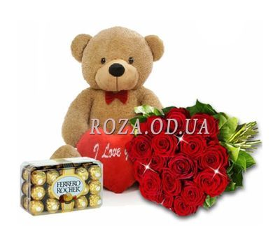 """A bouquet of roses with a teddy bear and sweets"" in the online flower shop roza.od.ua"