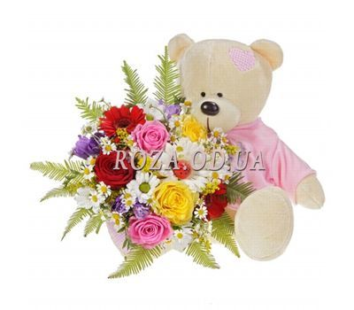 """Bouquet with a bear"" in the online flower shop roza.od.ua"