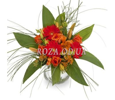 """Bouquet of flowers of roses, gerberas and alstroemerias"" in the online flower shop roza.od.ua"