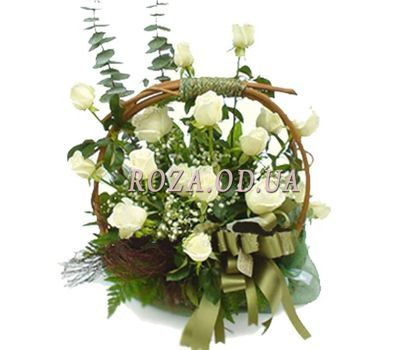 """Basket of 15 white roses"" in the online flower shop roza.od.ua"