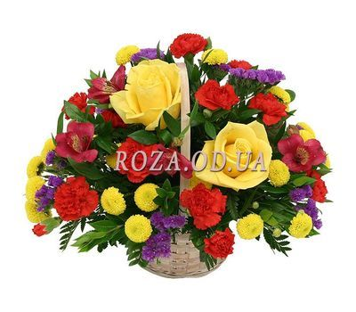 """Basket with roses, carnations, chrysanthemums"" in the online flower shop roza.od.ua"