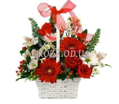 """Basket with roses, chrysanthemums, gerberas"" in the online flower shop roza.od.ua"