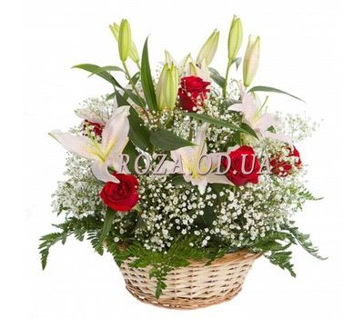 """Basket of roses and lilies"" in the online flower shop roza.od.ua"