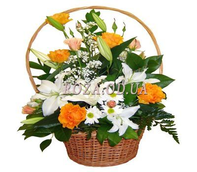 """Basket of flowers from roses and lilies"" in the online flower shop roza.od.ua"