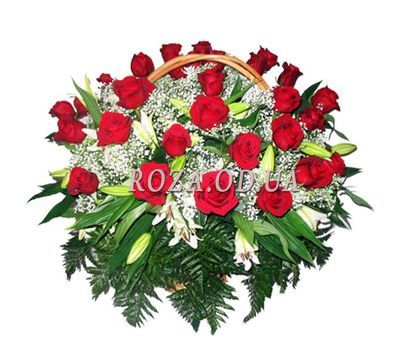 """Basket with roses and lilies"" in the online flower shop roza.od.ua"