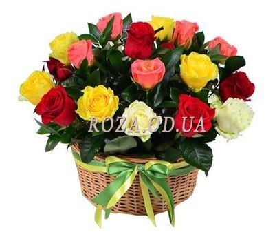 """Basket of different color roses"" in the online flower shop roza.od.ua"