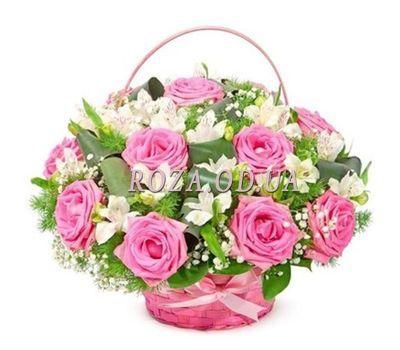 """""""Корзина цветов из роз и альстромерий"""" в интернет-магазине цветов roza.od.ua"""