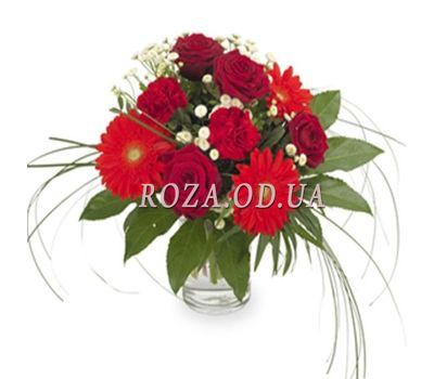 """Bouquet of roses, gerberas and carnations"" in the online flower shop roza.od.ua"