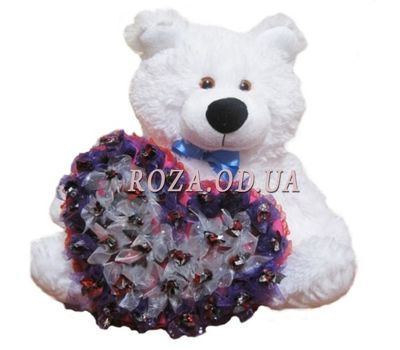 """Bear with a bouquet of chocolates"" in the online flower shop roza.od.ua"