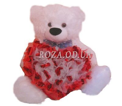 """Teddy bear with heart from sweets"" in the online flower shop roza.od.ua"