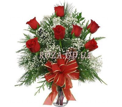 """Bouquet of 7 roses with spruce"" in the online flower shop roza.od.ua"
