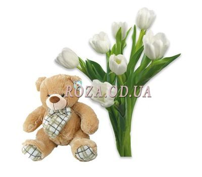 """""""Tulips with a bear"""" in the online flower shop roza.od.ua"""