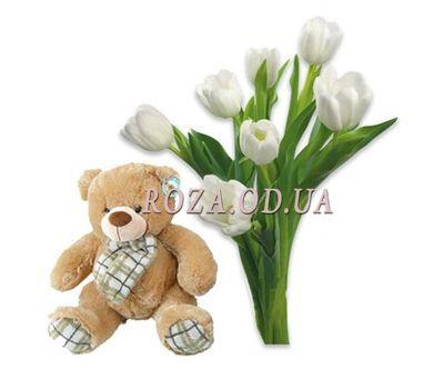 """""""Тюльпаны с мишкой"""" в интернет-магазине цветов roza.od.ua"""