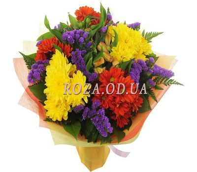 """9 multi-colored chrysanthemums"" in the online flower shop roza.od.ua"