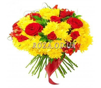 """Bright bouquet of chrysanthemums and roses"" in the online flower shop roza.od.ua"