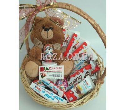 """A basket of sweets and soft toys - photo 1"" in the online flower shop roza.od.ua"