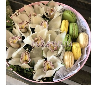 """Delicate orchids and Macarons - 1"" in the online flower shop roza.od.ua"