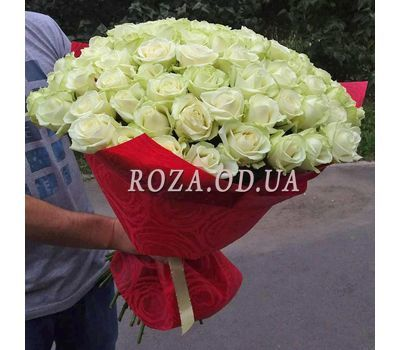 """""""75 white roses 70 cm 1"""" in the online flower shop roza.od.ua"""
