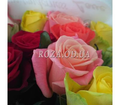 """15 multicolored roses 1"" in the online flower shop roza.od.ua"