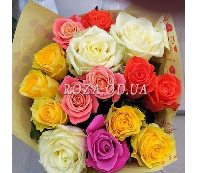 """15 multicolored roses 4"" in the online flower shop roza.od.ua"