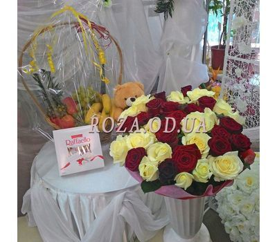 """51 multicolored roses 70 cm 1"" in the online flower shop roza.od.ua"