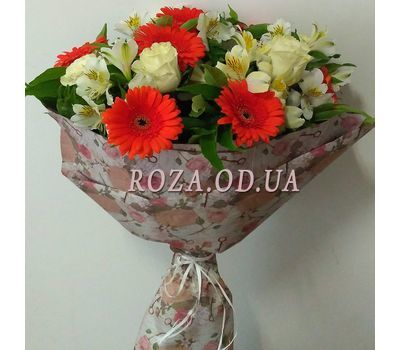 """Bouquet of roses, gerberas and alstromeries 1"" in the online flower shop roza.od.ua"