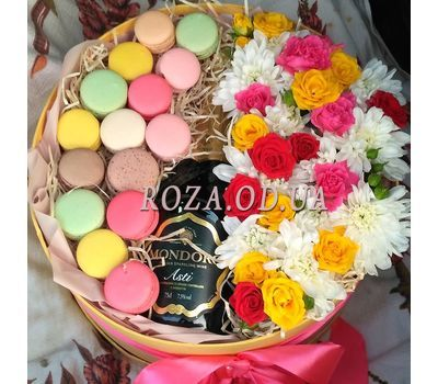 """Flowers with Macarons and Mondoro Asti 3"" in the online flower shop roza.od.ua"