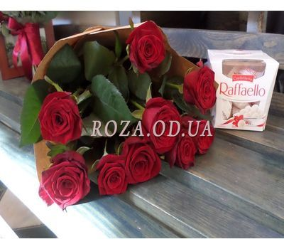 """""""9 roses and Raffaello 1"""" in the online flower shop roza.od.ua"""