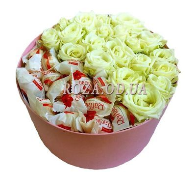 """White roses and Raffaello"" in the online flower shop roza.od.ua"