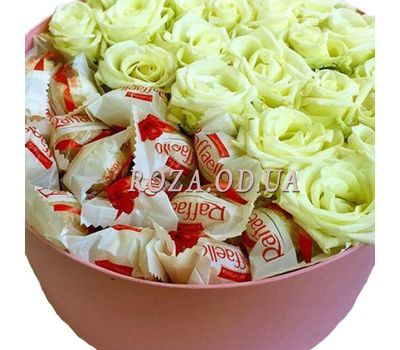 """White roses and Raffaello 1"" in the online flower shop roza.od.ua"