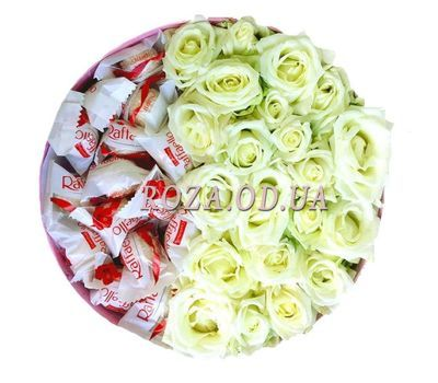 """White roses and Raffaello 2"" in the online flower shop roza.od.ua"