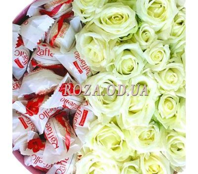 """White roses and Raffaello 3"" in the online flower shop roza.od.ua"