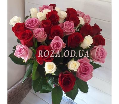 """35 multicolored roses 1"" in the online flower shop roza.od.ua"