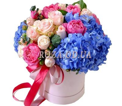 """Bouquet in a box with hydrangea"" in the online flower shop roza.od.ua"