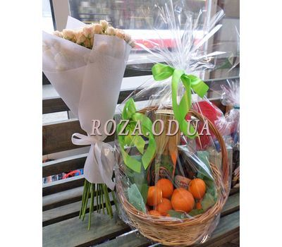 """Корзина с мандаринами и шампанским 2"" в интернет-магазине цветов roza.od.ua"