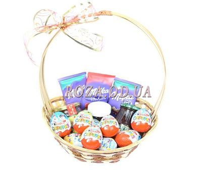 """""""Basket with chocolate Milka and Kinder"""" in the online flower shop roza.od.ua"""