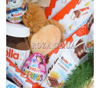 """""""New Year's basket of sweets and soft toys 1"""" in the online flower shop roza.od.ua"""