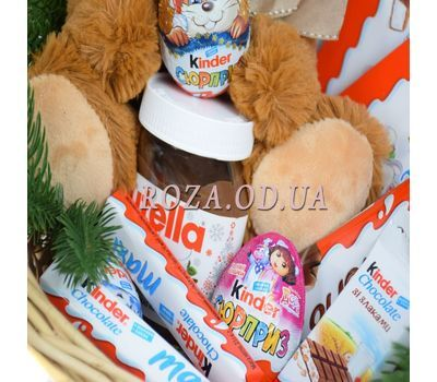 """""""New Year's basket of sweets and soft toys 2"""" in the online flower shop roza.od.ua"""