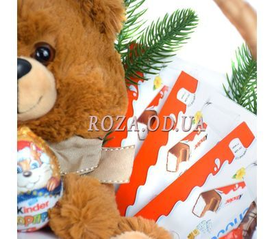 """""""New Year's basket of sweets and soft toys 3"""" in the online flower shop roza.od.ua"""
