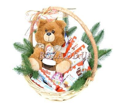 """""""New Year's basket of sweets and soft toys"""" in the online flower shop roza.od.ua"""