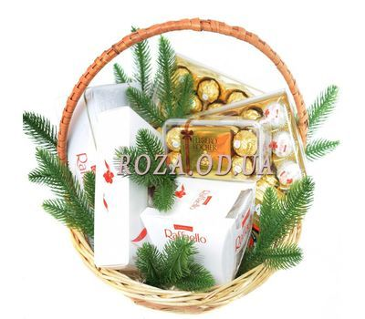 """Ferrero Rocher and Raffaello New Year's gift basket"" in the online flower shop roza.od.ua"