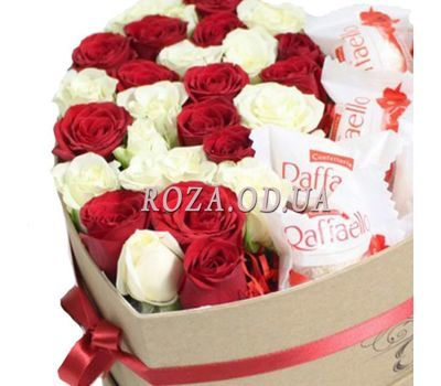 """""""Roses and Raffaello in a box 2"""" in the online flower shop roza.od.ua"""