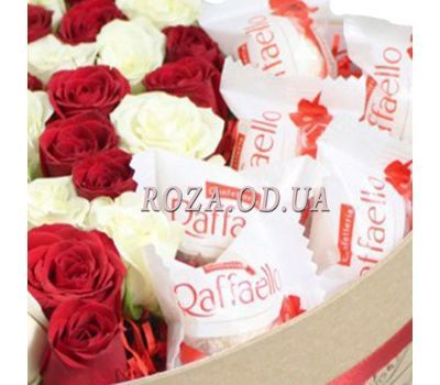 """""""Roses and Raffaello in a box 3"""" in the online flower shop roza.od.ua"""