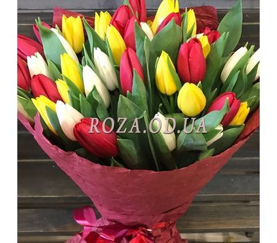 """""""45 colorful tulips 3"""" in the online flower shop roza.od.ua"""