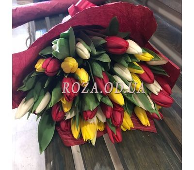 """""""45 colorful tulips 4"""" in the online flower shop roza.od.ua"""