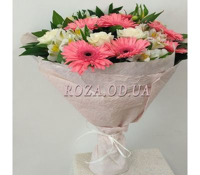 """Bouquet of roses, gerberas and alstromeries 5"" in the online flower shop roza.od.ua"
